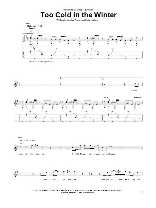 Tablature guitare Too Cold In The Winter de Cry Of Love - Tablature Guitare