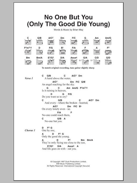 No One But You Only The Good Die Young Sheet Music Direct