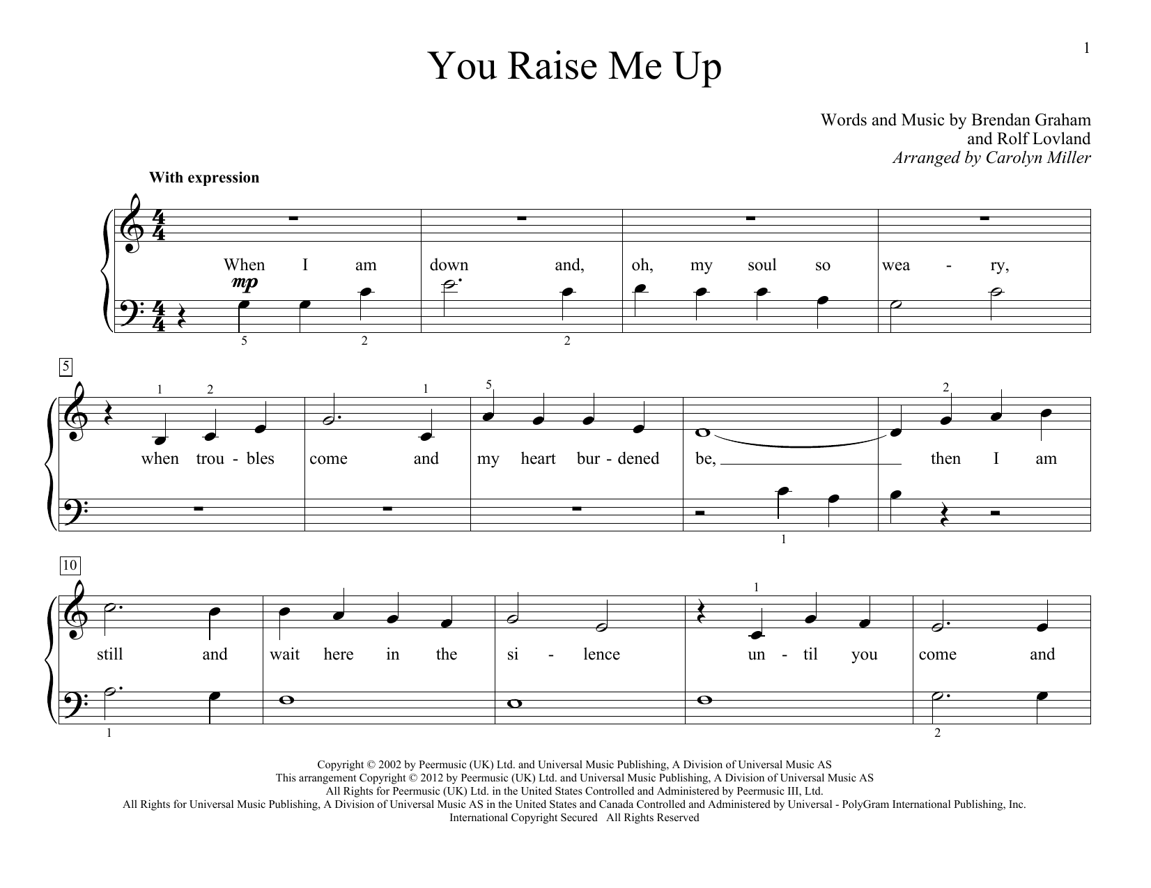 Partition piano You Raise Me Up de Carolyn Miller - Piano Facile