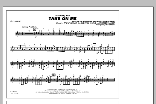 Take On Me - Bb Clarinet (Marching Band)