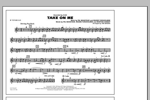 Take On Me - Bb Tenor Sax (Marching Band)