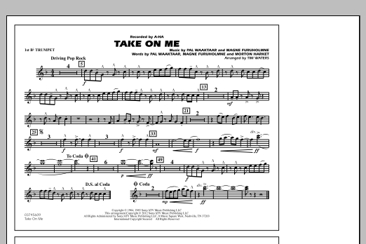 Take On Me - 1st Bb Trumpet (Marching Band)
