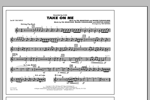 Take On Me - 2nd Bb Trumpet (Marching Band)