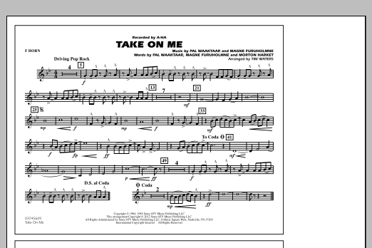 Take On Me - F Horn (Marching Band)
