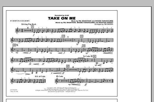 Take On Me - Bb Horn/Flugelhorn (Marching Band)