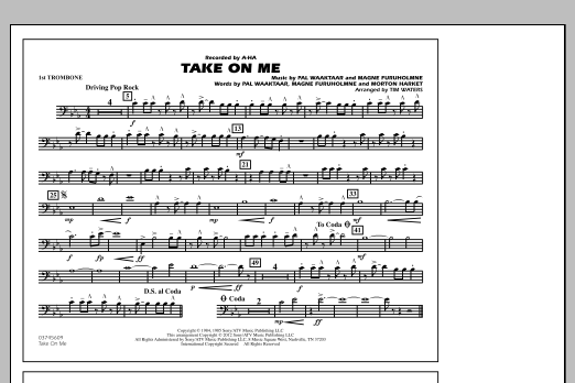 Take On Me - 1st Trombone (Marching Band)