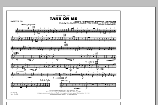Take On Me - Baritone T.C. (Marching Band)