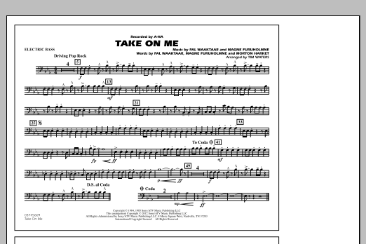 Take On Me - Electric Bass (Marching Band)
