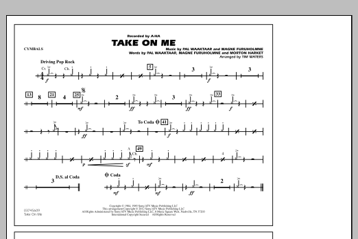 Take On Me - Cymbals (Marching Band)