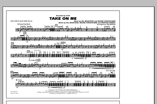 Take On Me - Multiple Bass Drums (Marching Band)