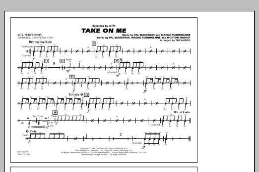 Take On Me - Aux Percussion (Marching Band)