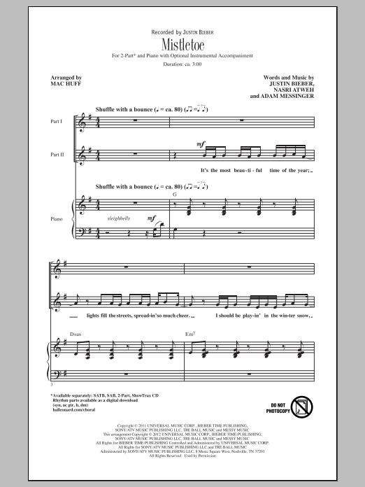 Partition chorale Mistletoe de Justin Bieber - 2 voix