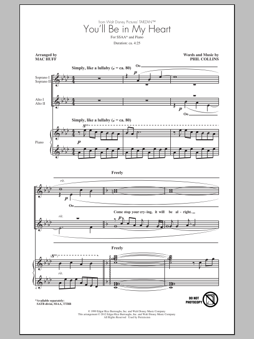 You'll Be In My Heart (arr. Mac Huff) Sheet Music