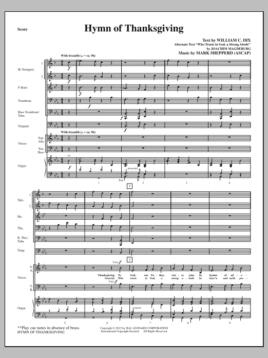 Hymn Of Thanksgiving (complete set of parts) sheet music for orchestra/band (Brass) by Mark Shepperd and William Chatterton Dix. Score Image Preview.