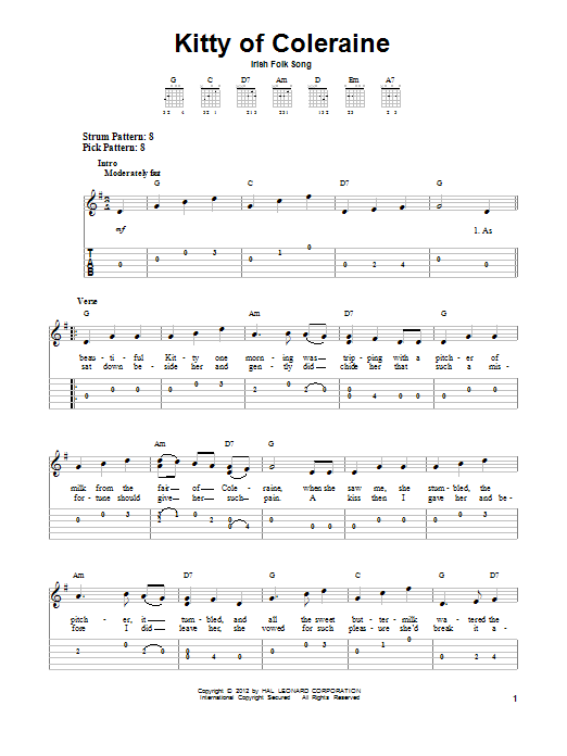 Tablature guitare Kitty Of Coleraine de Irish Folksong - Tablature guitare facile
