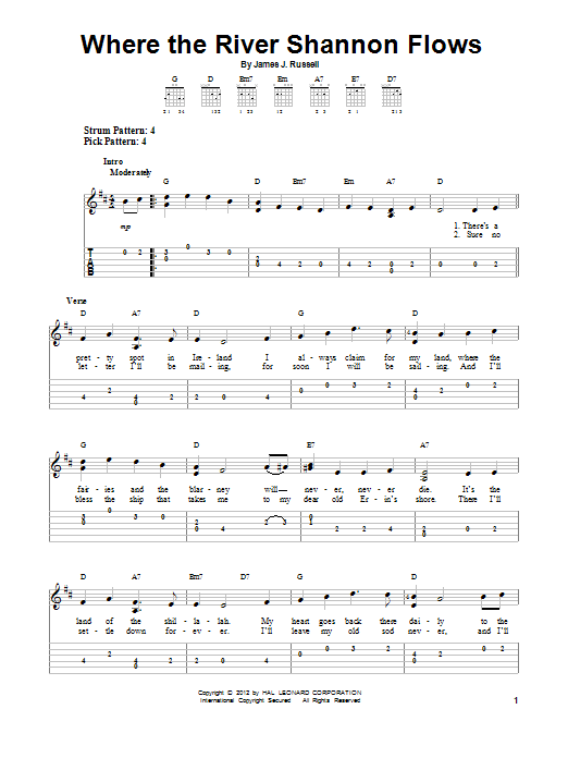 Tablature guitare Where The River Shannon Flows de James J. Russell - Tablature guitare facile