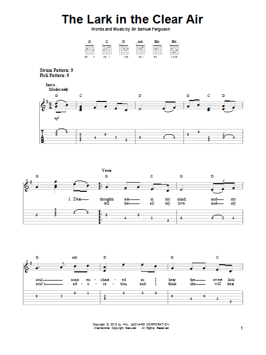 The Lark In The Clear Air (Easy Guitar Tab)