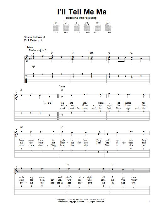 Tablature guitare I'll Tell Me Ma de Traditional Irish Folk Song - Tablature guitare facile