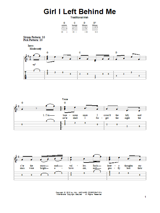 Girl I Left Behind Me By Traditional Irish Easy Guitar Tab