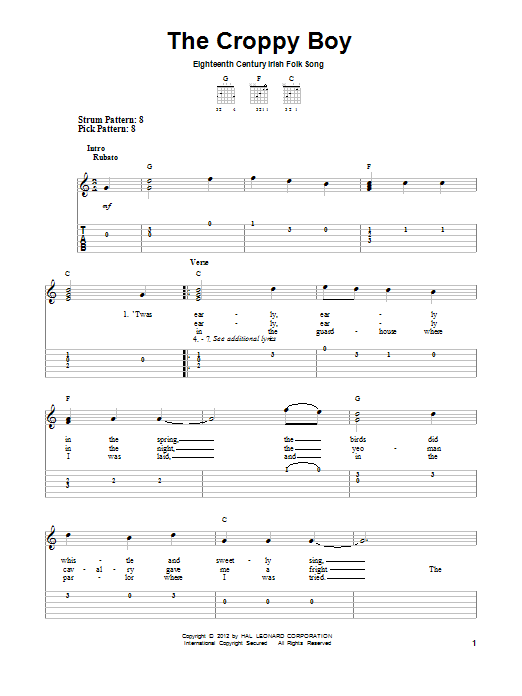 The Croppy Boy Sheet Music