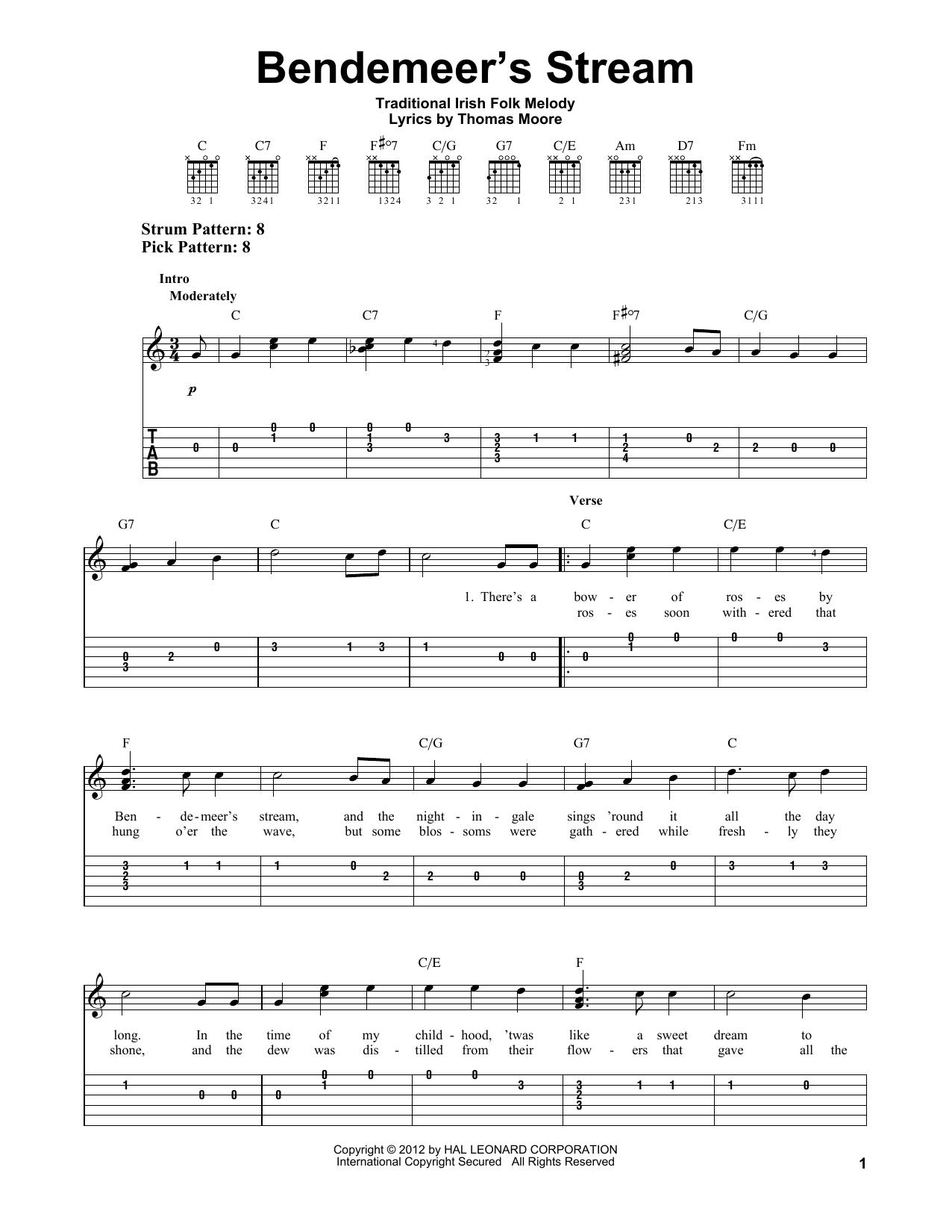 Tablature guitare Bendemeer's Stream de Thomas Moore - Tablature guitare facile