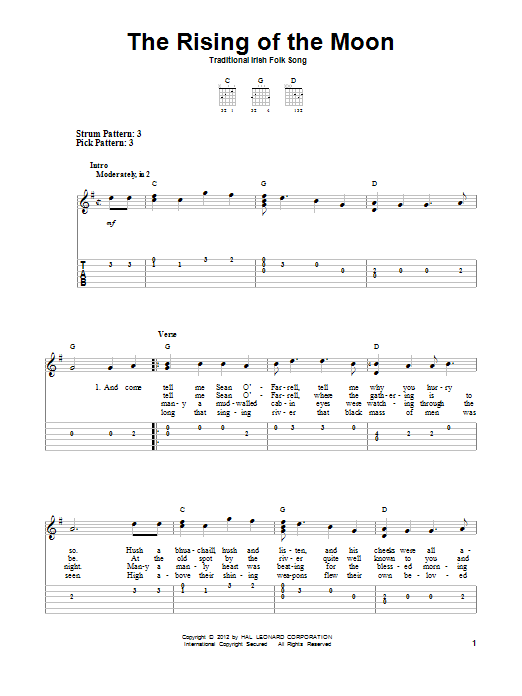 Tablature guitare The Rising Of The Moon de Traditional Irish Folk Song - Tablature guitare facile