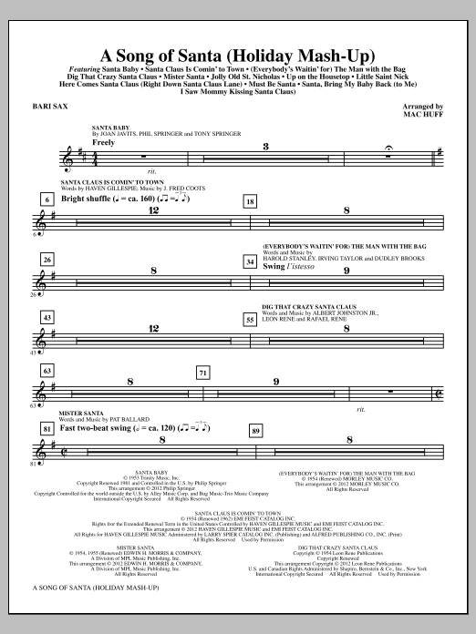 A Song Of Santa - Baritone Sax Sheet Music