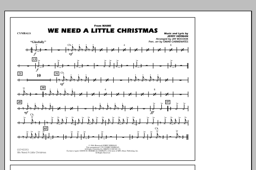 We Need A Little Christmas - Cymbals (Marching Band)