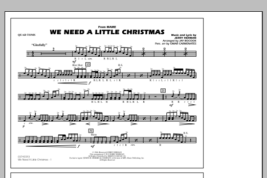 We Need A Little Christmas - Quad Toms (Marching Band)