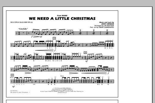 We Need A Little Christmas - Multiple Bass Drums (Marching Band)