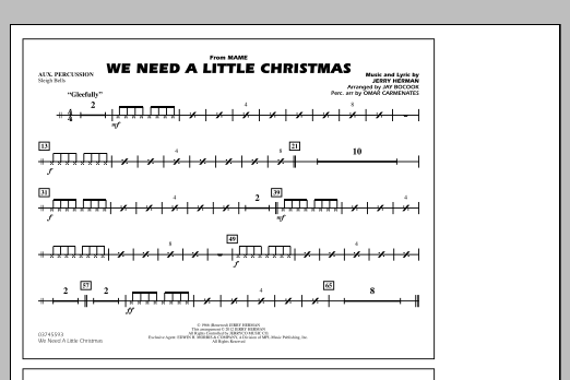 We Need A Little Christmas - Aux Percussion (Marching Band)