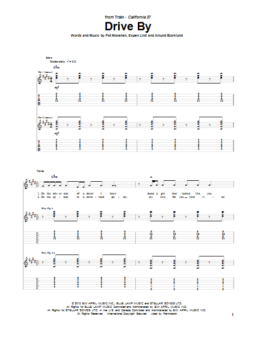 Tablature guitare Drive By de Train - Tablature Guitare