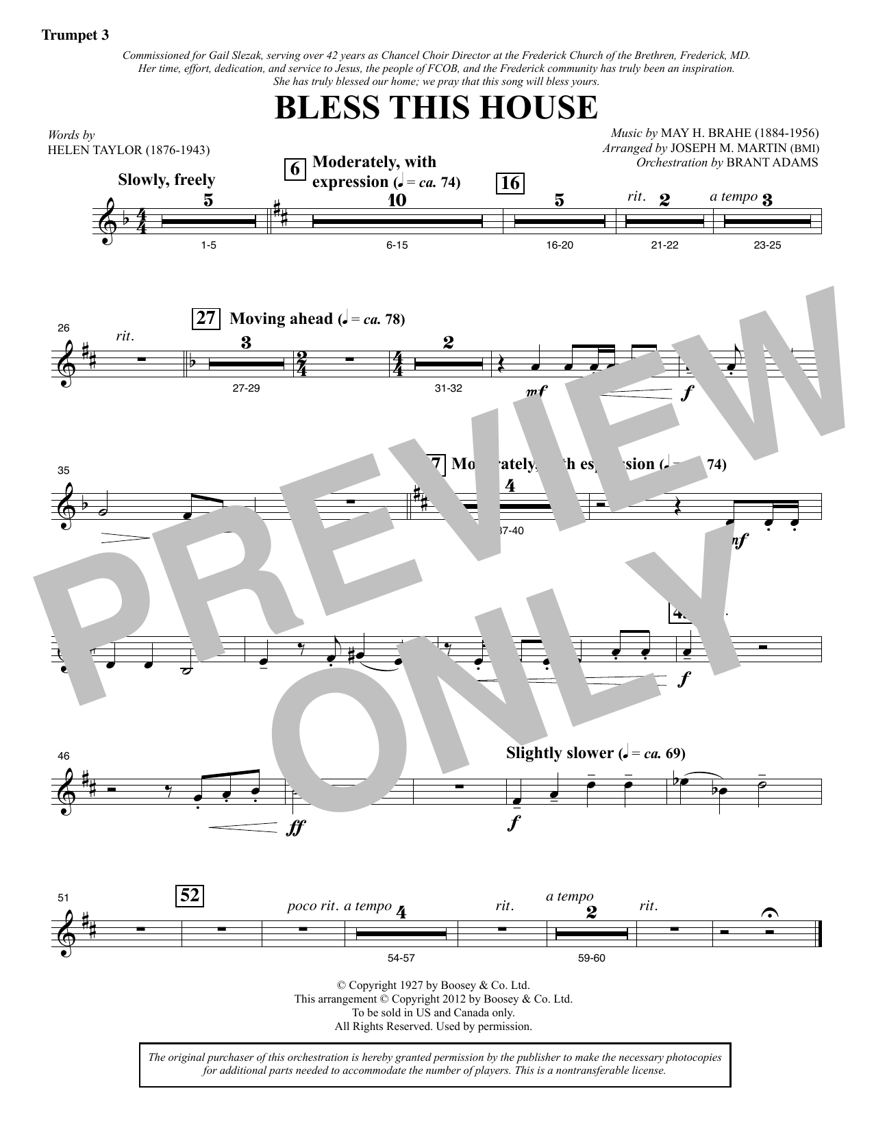 Bless This House - Bb Trumpet 3 Sheet Music
