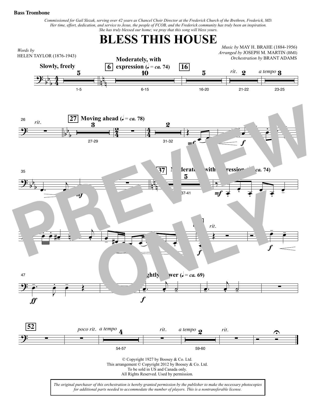 Bless This House - Bass Trombone Sheet Music