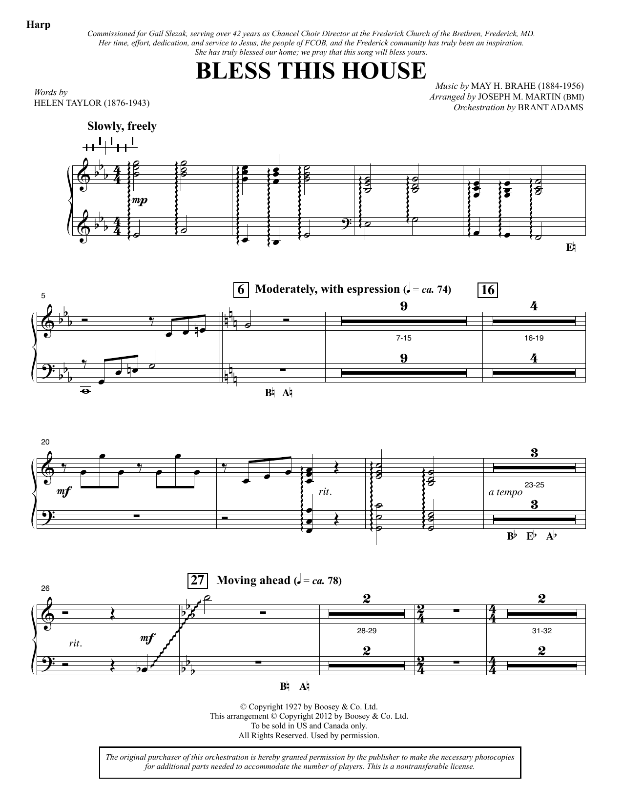 Bless This House - Harp Sheet Music