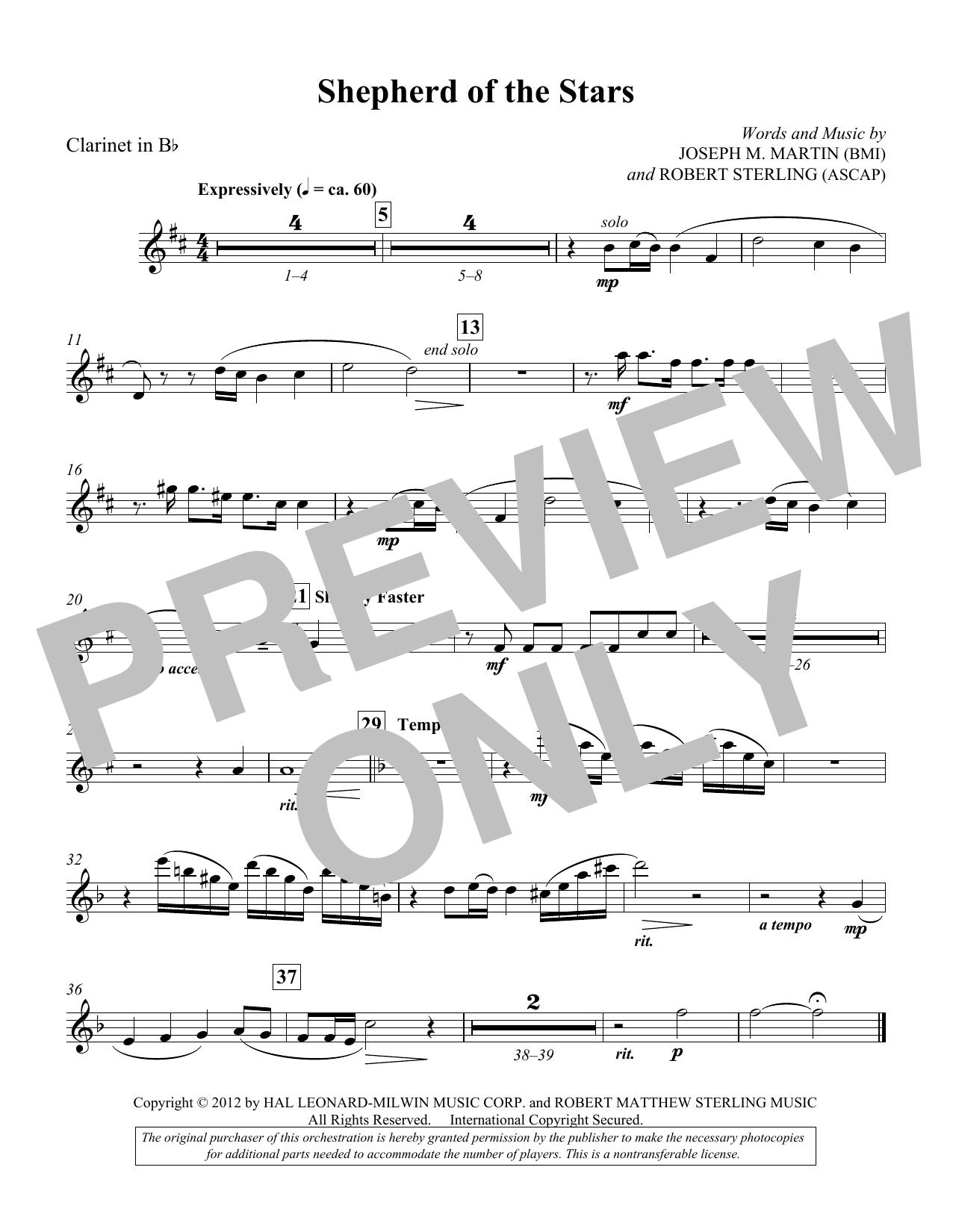 Shepherd Of The Stars - Clarinet (Choir Instrumental Pak)