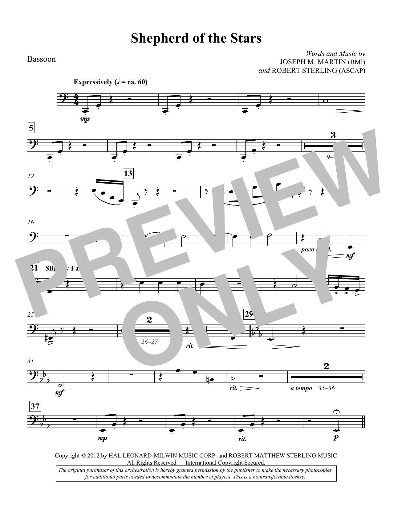 Shepherd Of The Stars - Bassoon (Choir Instrumental Pak)