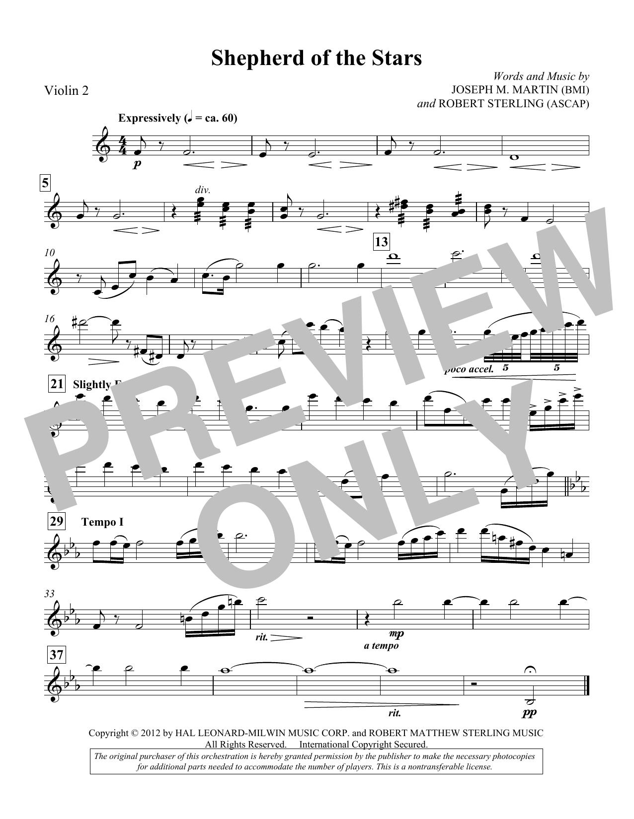 Shepherd Of The Stars - Violin 2 (Choir Instrumental Pak)