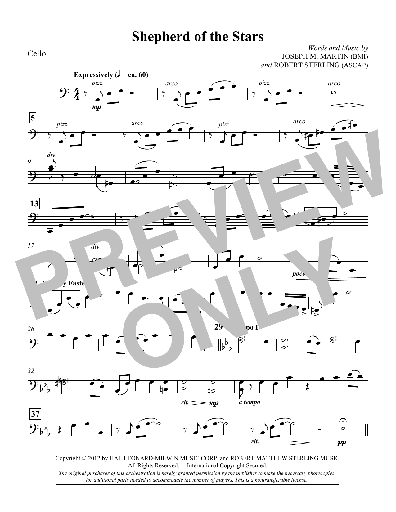Shepherd Of The Stars - Cello (Choir Instrumental Pak)
