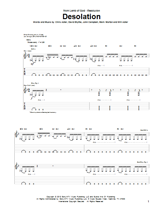 Desolation Sheet Music