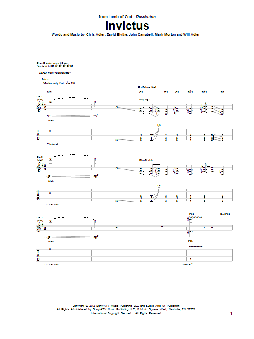 Tablature guitare Invictus de Lamb Of God - Tablature Guitare