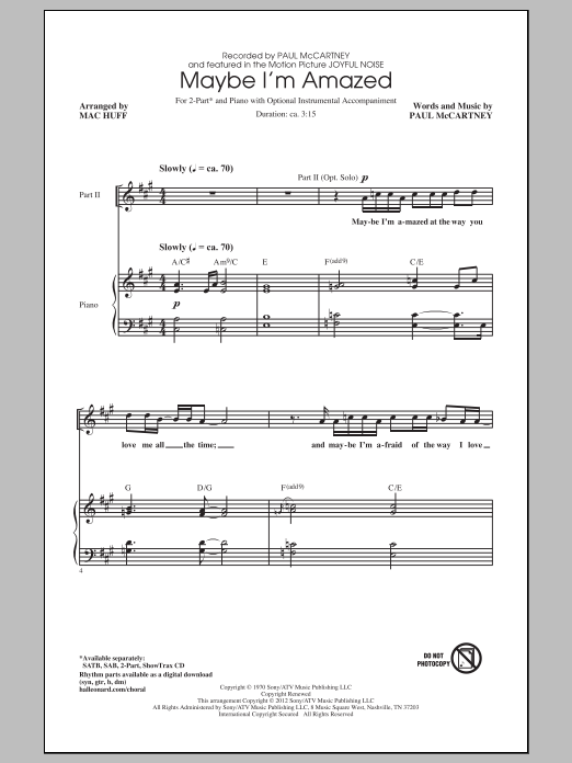 Maybe I'm Amazed (arr. Mac Huff) Sheet Music