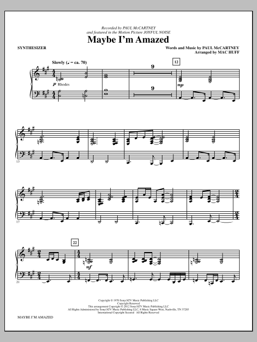 Maybe I'm Amazed - Synthesizer Sheet Music