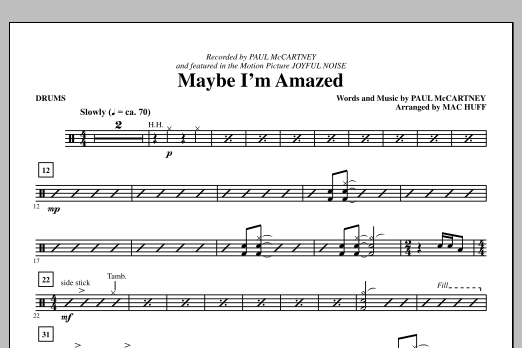 Maybe I'm Amazed - Drums Sheet Music