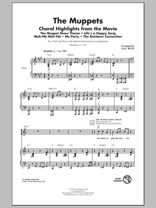 page one of The Muppets (Choral Highlights) (arr. Mac Huff)ASALTTEXT