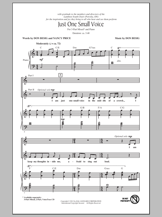 Just One Small Voice Sheet Music