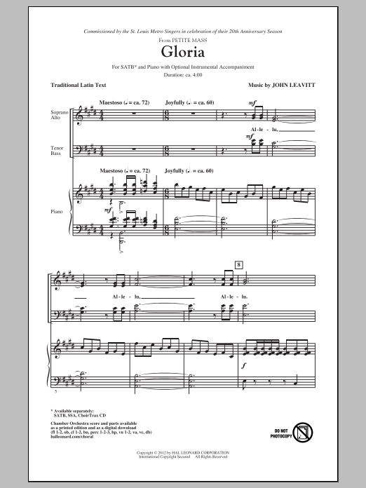 Partition chorale Gloria de John Leavitt - SATB