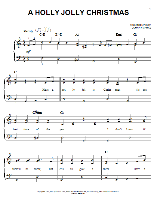 A Holly Jolly Christmas.A Holly Jolly Christmas Easy Piano Print Sheet Music Now