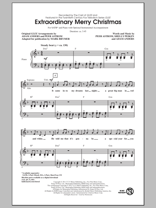Partition chorale Extraordinary Merry Christmas de Glee Cast - SATB