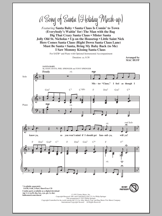 A Song Of Santa (Medley) (SATB Choir)